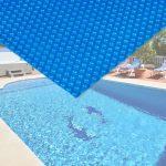 Medence szolártakaró 4x6m téglalap alakú kék medencefedés