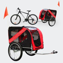 Kerékpár utánfutó fekete és piros 40 kg