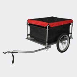 Kerékpár utánfutó fekete és piros 65 kg
