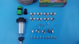 CoolMist Párakapu párásító szett kerti vízszűrővel, 15m tömlővel, 8db acél fúvókával, csapcsatlakozóval