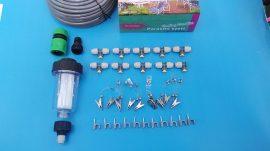 CoolMist Párakapu párásító szett kerti vízszűrővel, 15m tömlővel, 10db acél fúvókával, csapcsatlakozóval