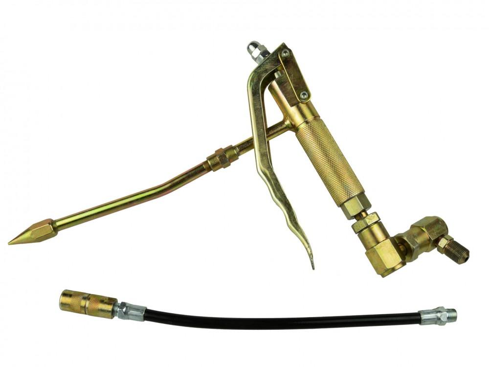 GEKO G01129A zsírzópisztoly fém és gumi tömlővel, zsírzógépekhez