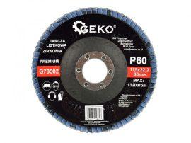 Lamellás csiszolótányér rozsdamentes GEKO Premium 115xP60